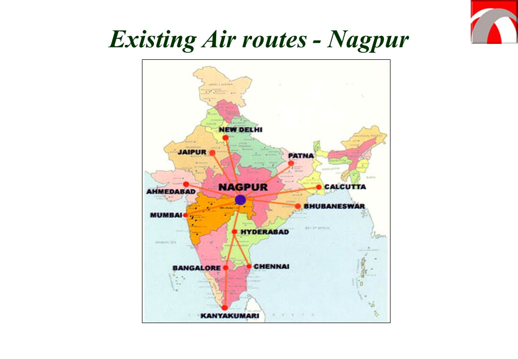 Existing Air routes - Nagpur