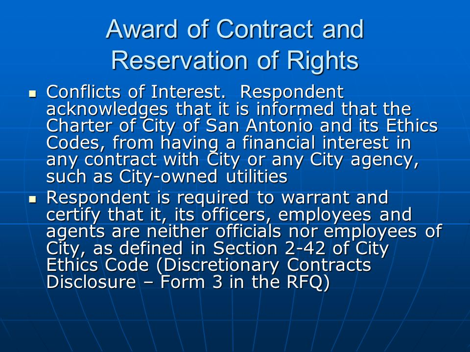 Award of Contract and Reservation of Rights