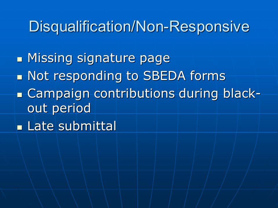 Disqualification/Non-Responsive