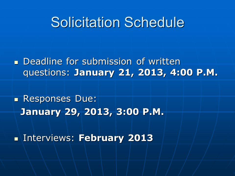 Solicitation Schedule