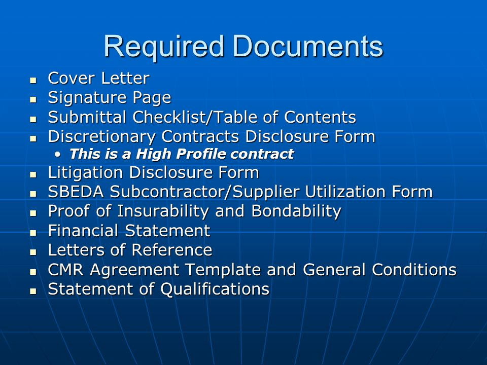 Required Documents Cover Letter Signature Page