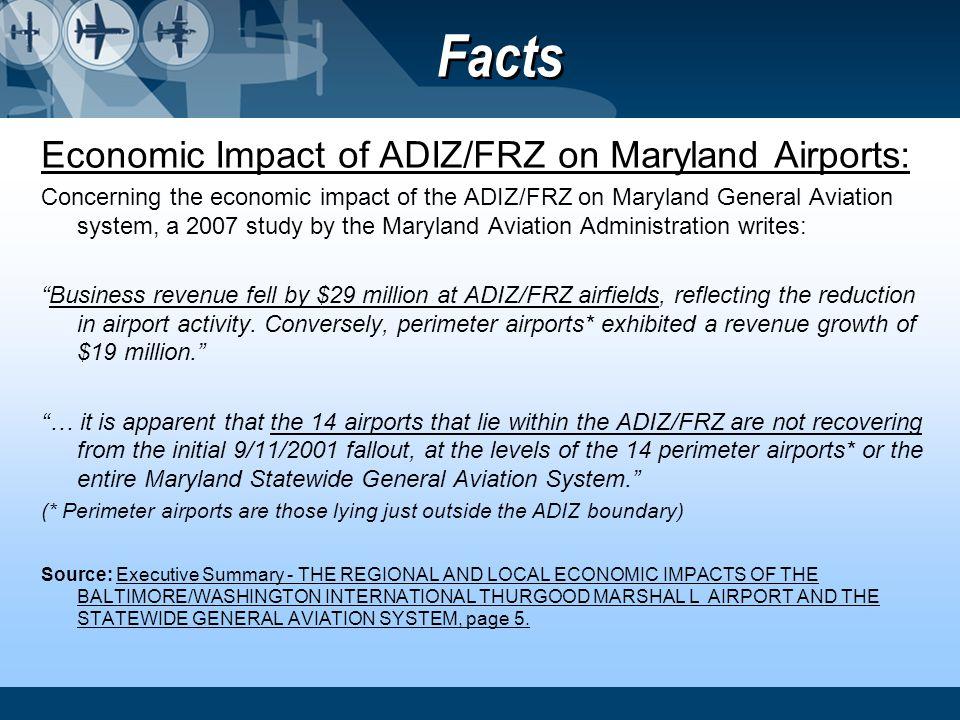 Facts Economic Impact of ADIZ/FRZ on Maryland Airports: