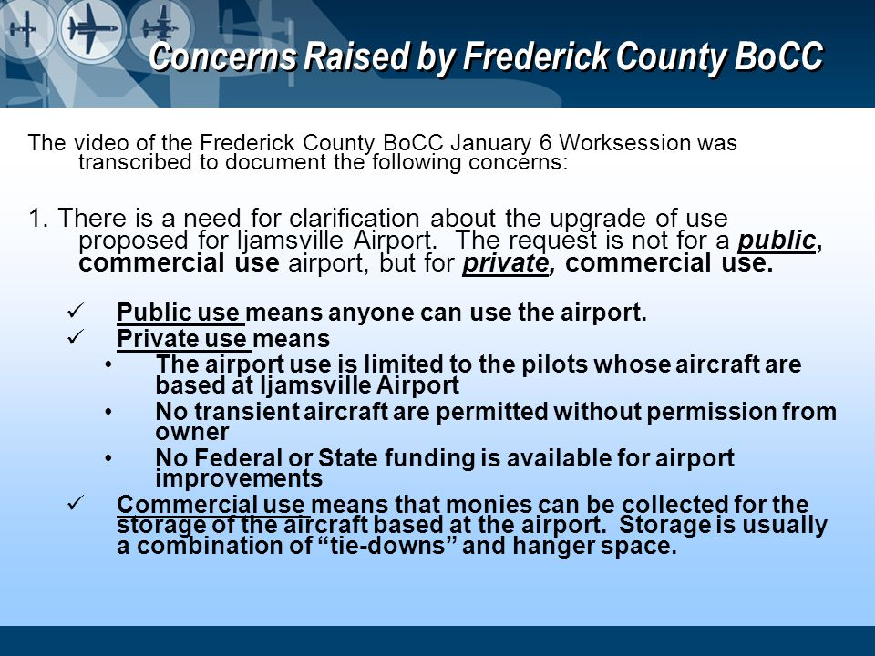 Concerns Raised by Frederick County BoCC