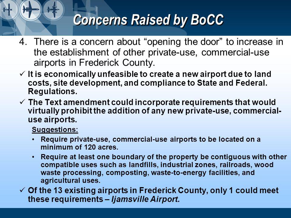 Concerns Raised by BoCC