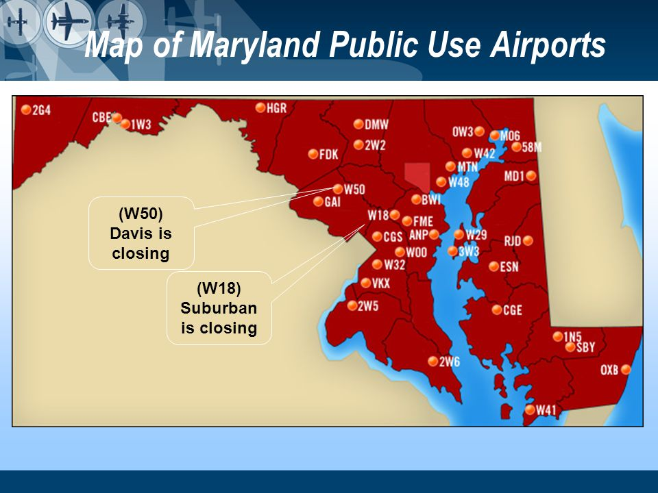 Map of Maryland Public Use Airports (W18) Suburban is closing