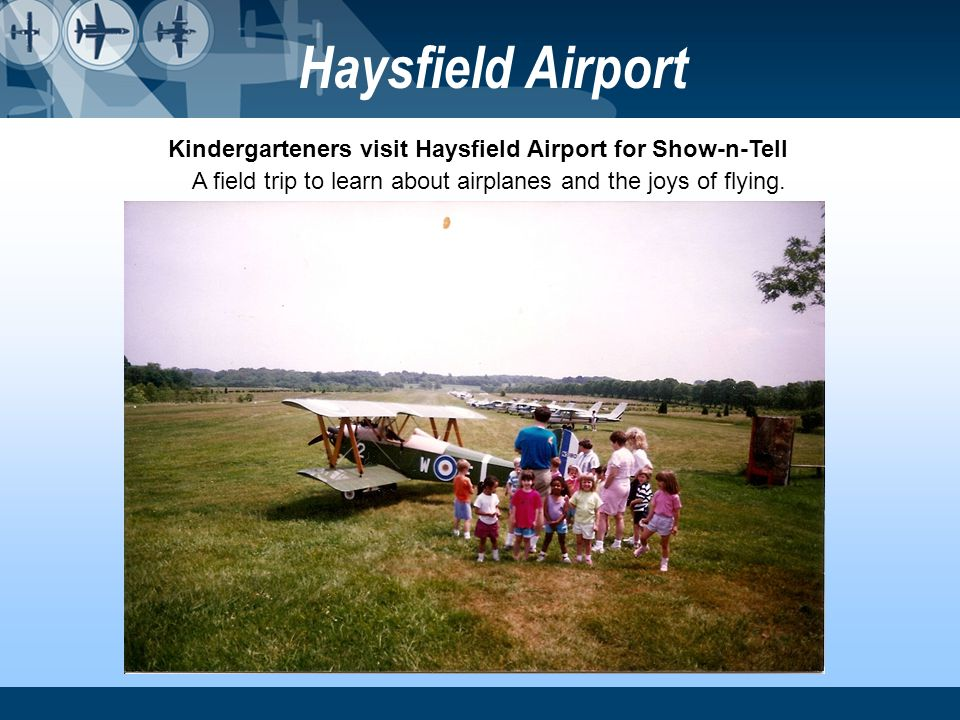 Kindergarteners visit Haysfield Airport for Show-n-Tell