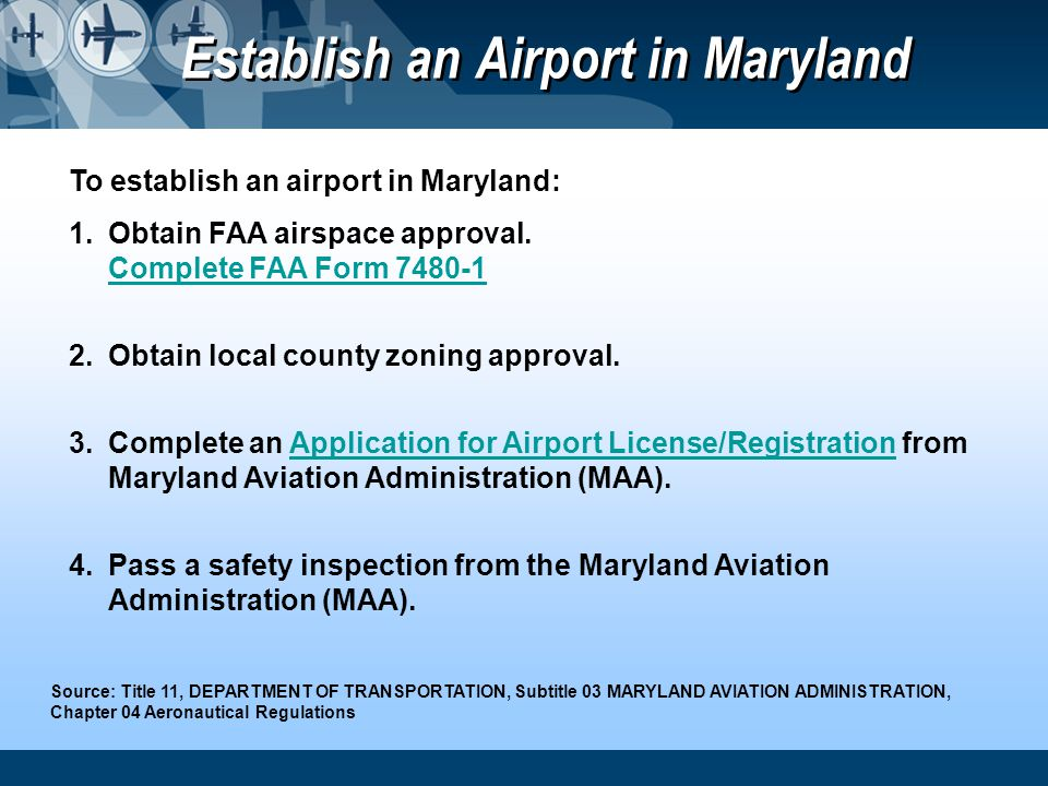 Establish an Airport in Maryland