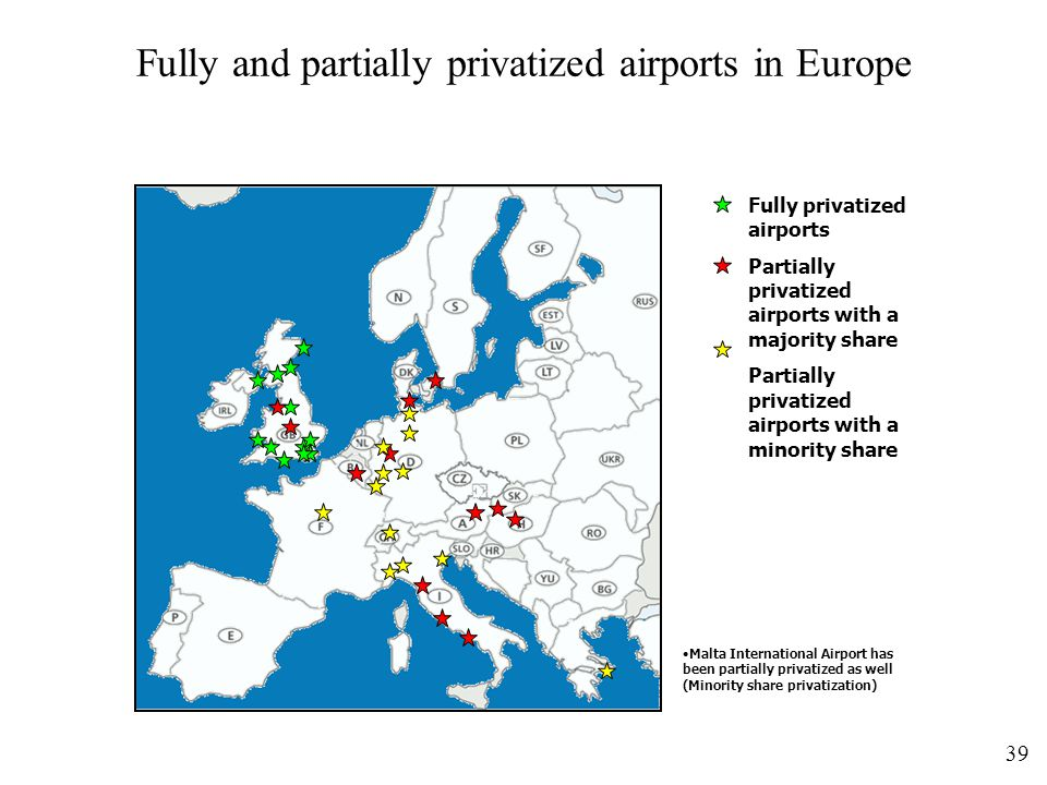 Fully and partially privatized airports in Europe