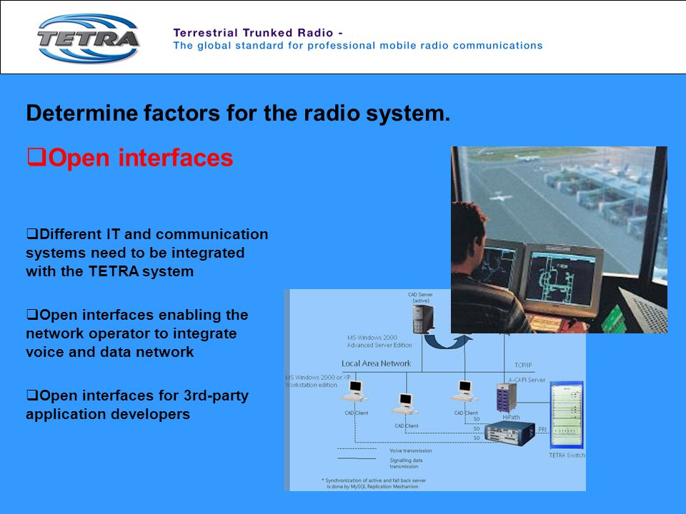 Open interfaces Determine factors for the radio system.