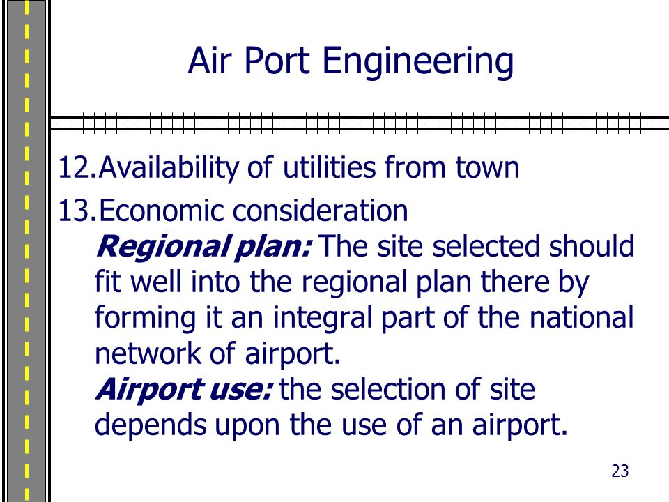 Air Port Engineering Availability of utilities from town