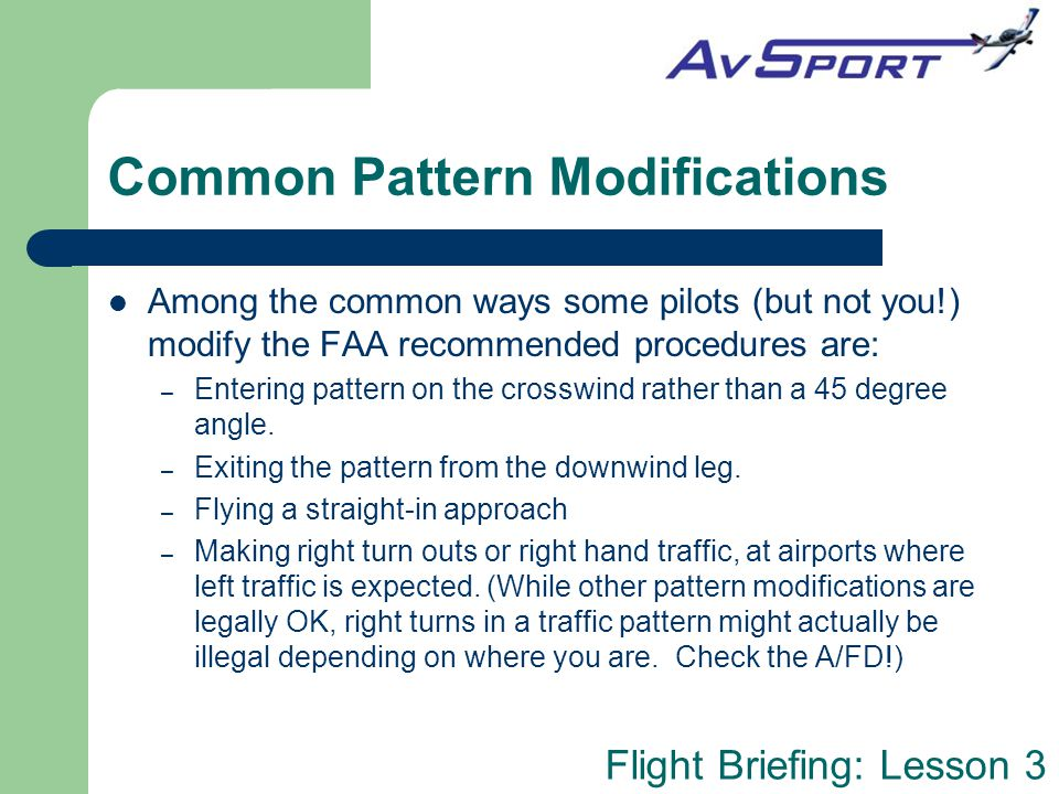 Common Pattern Modifications