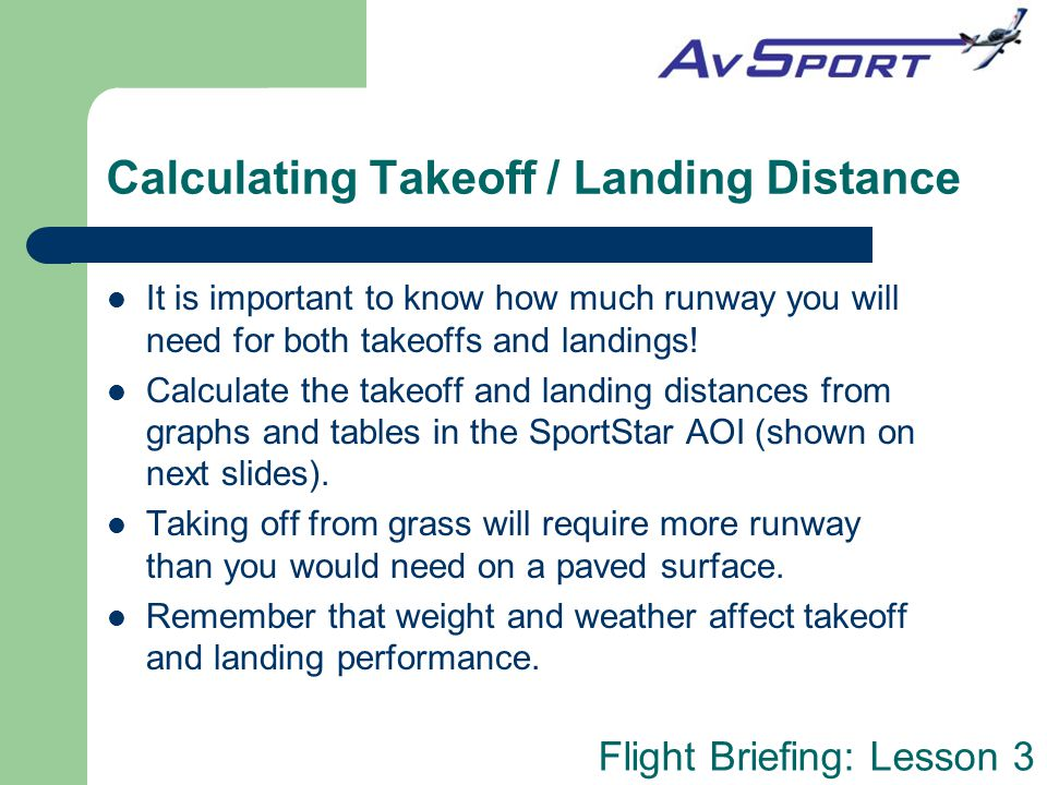 Calculating Takeoff / Landing Distance