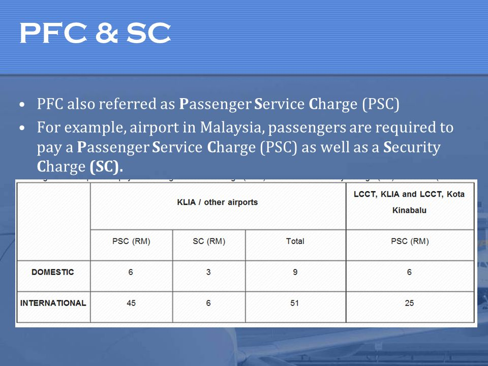 PFC & SC PFC also referred as Passenger Service Charge (PSC)