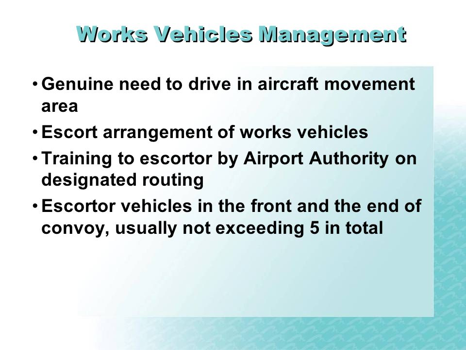 Works Vehicles Management