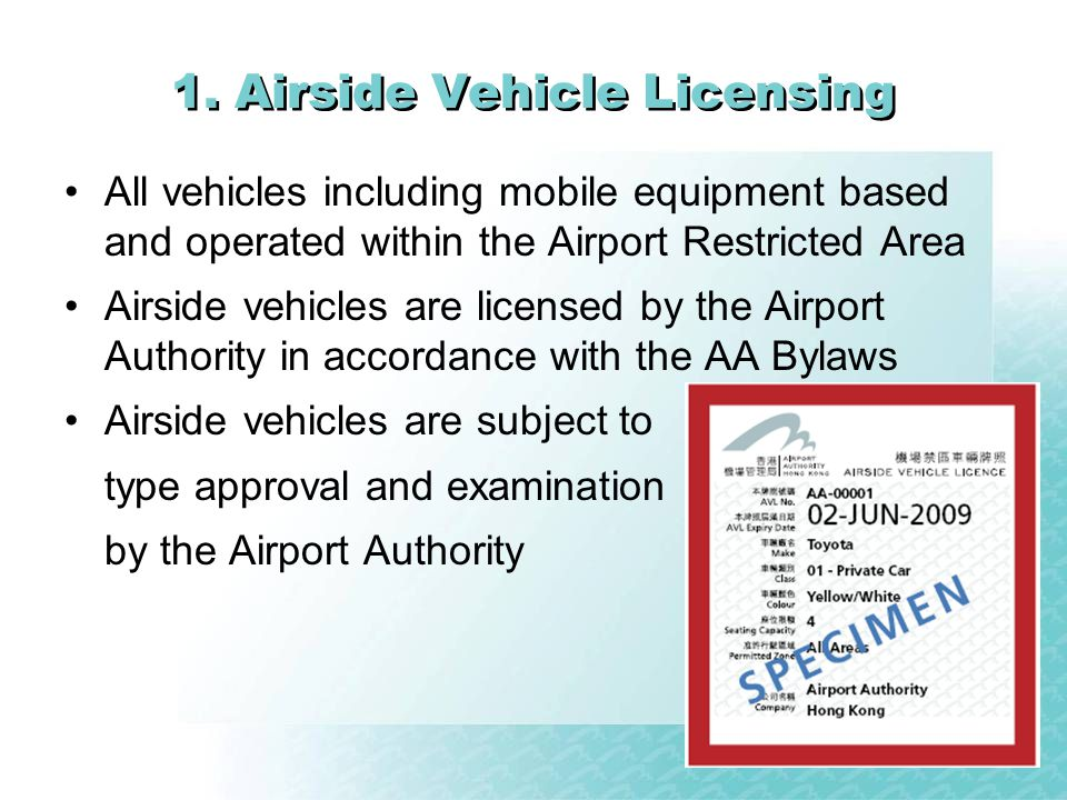 1. Airside Vehicle Licensing