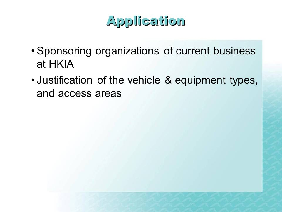 Application Sponsoring organizations of current business at HKIA