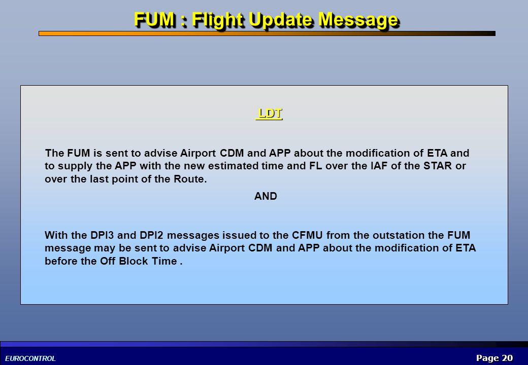 FUM : Flight Update Message