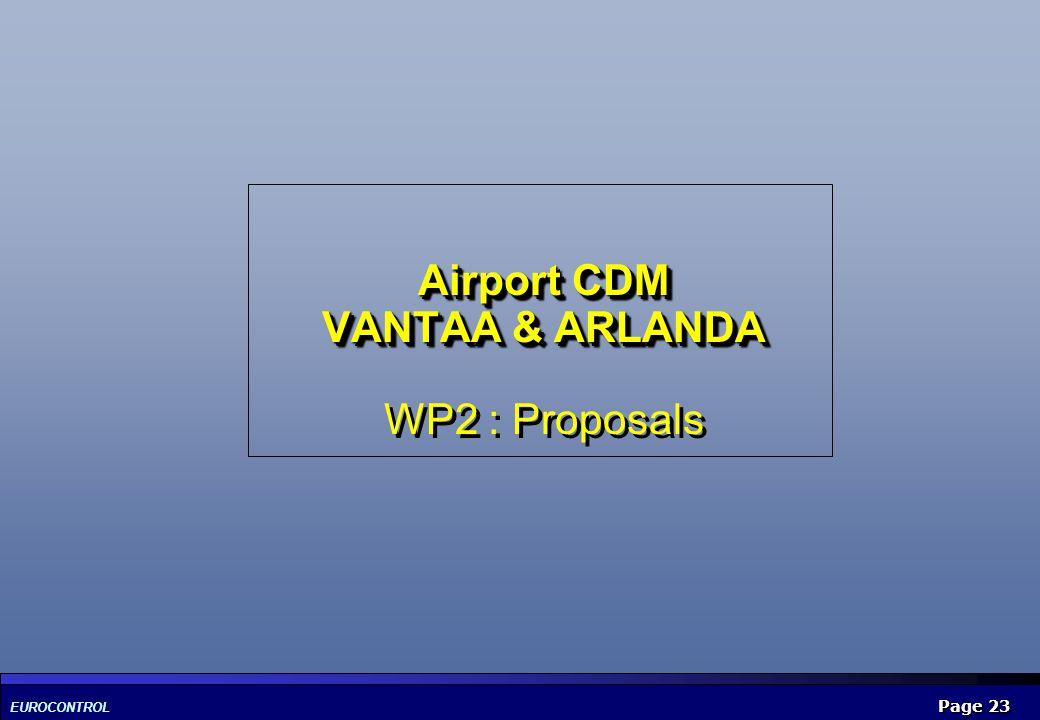 Airport CDM VANTAA & ARLANDA WP2 : Proposals