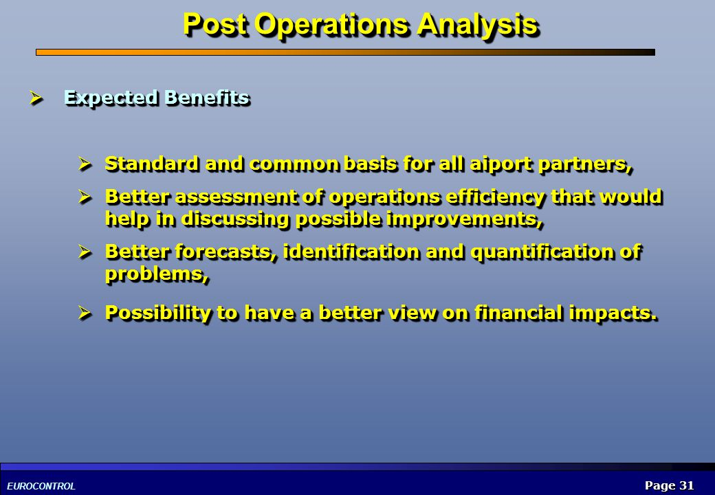 Post Operations Analysis