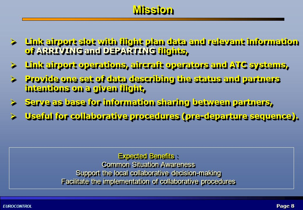 Mission Link airport slot with flight plan data and relevant information of ARRIVING and DEPARTING flights,