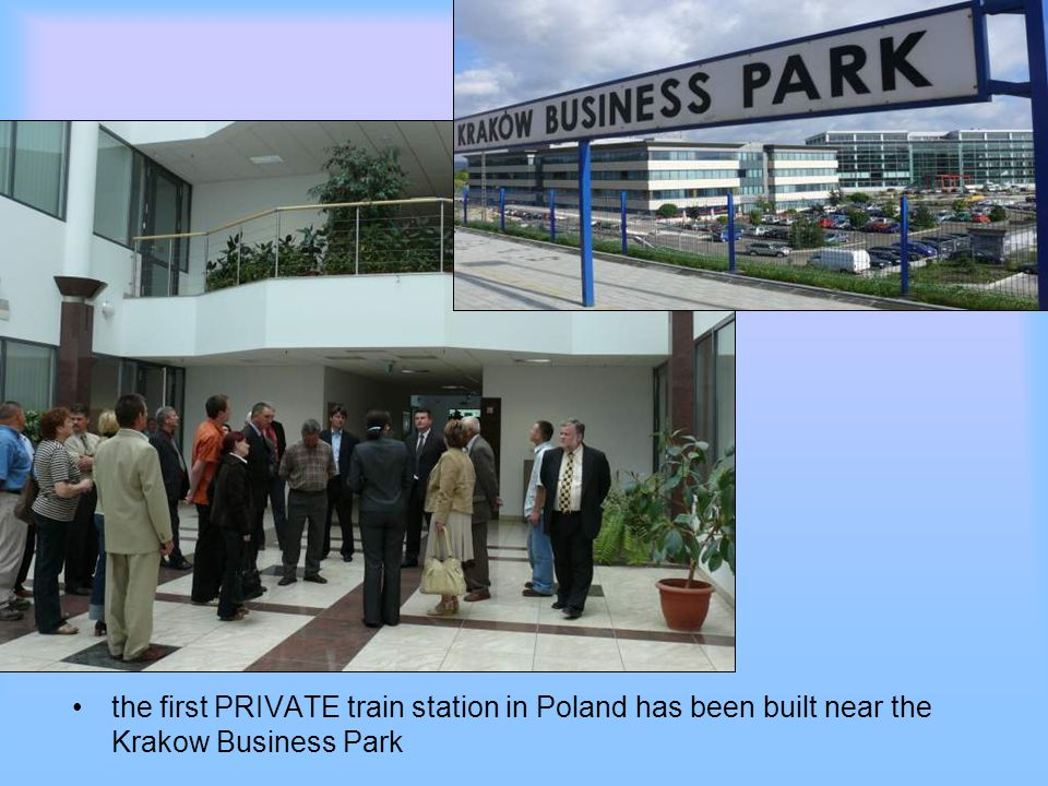 the first PRIVATE train station in Poland has been built near the Krakow Business Park