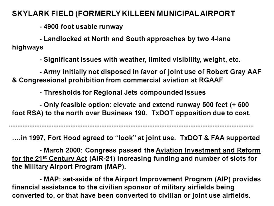 SKYLARK FIELD (FORMERLY KILLEEN MUNICIPAL AIRPORT