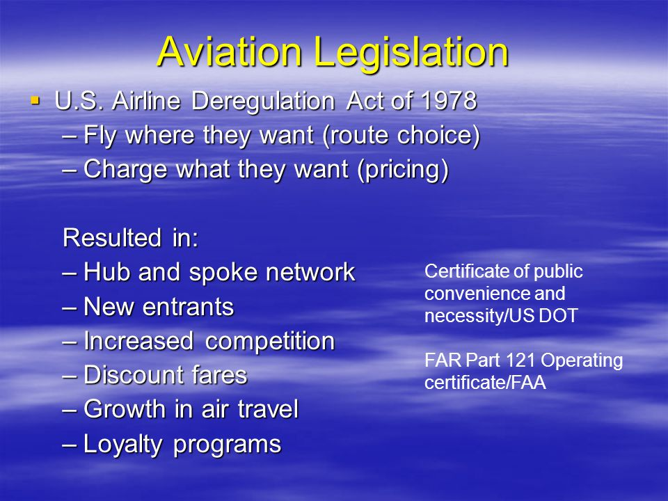 Aviation Legislation U.S. Airline Deregulation Act of 1978