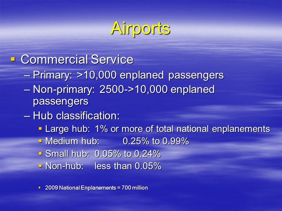 Airports Commercial Service Primary: >10,000 enplaned passengers