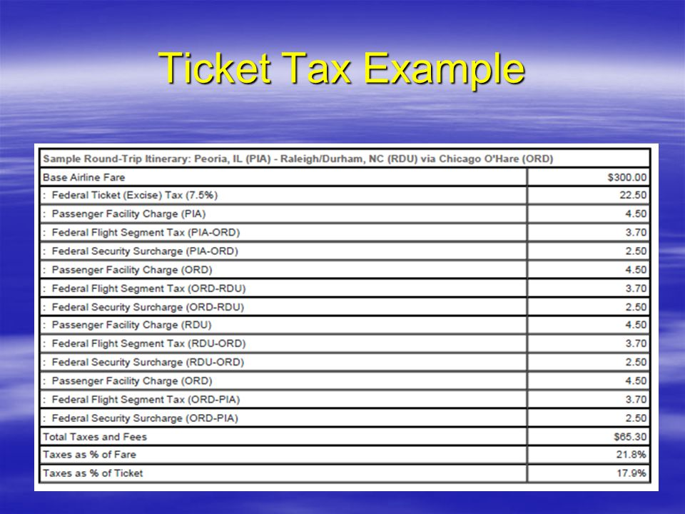 Ticket Tax Example