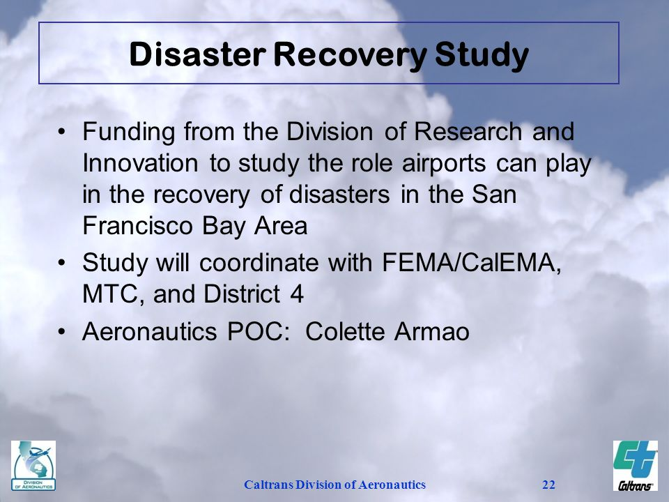 Disaster Recovery Study Caltrans Division of Aeronautics
