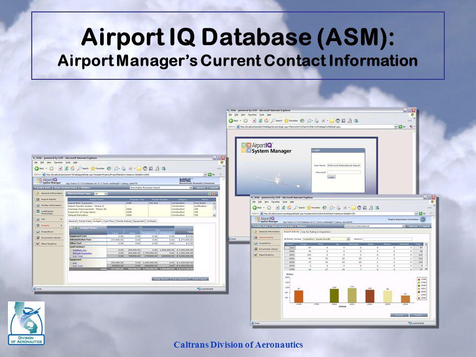 Airport IQ Database (ASM): Caltrans Division of Aeronautics