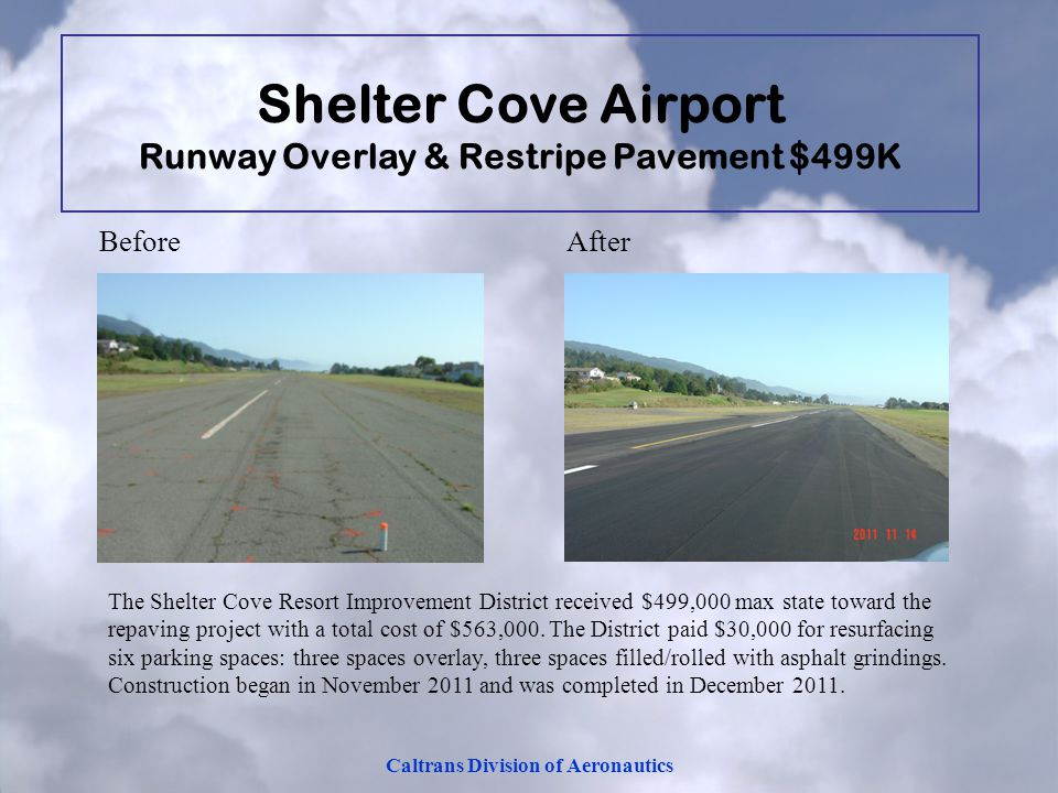 Shelter Cove Airport Runway Overlay & Restripe Pavement $499K