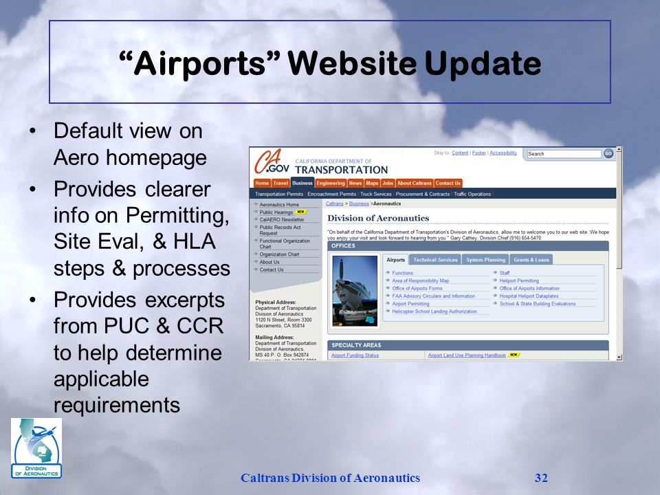 Airports Website Update