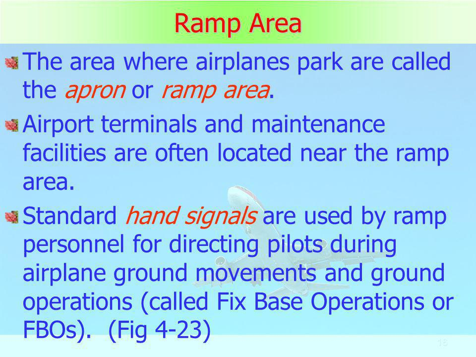 Ramp Area The area where airplanes park are called the apron or ramp area.