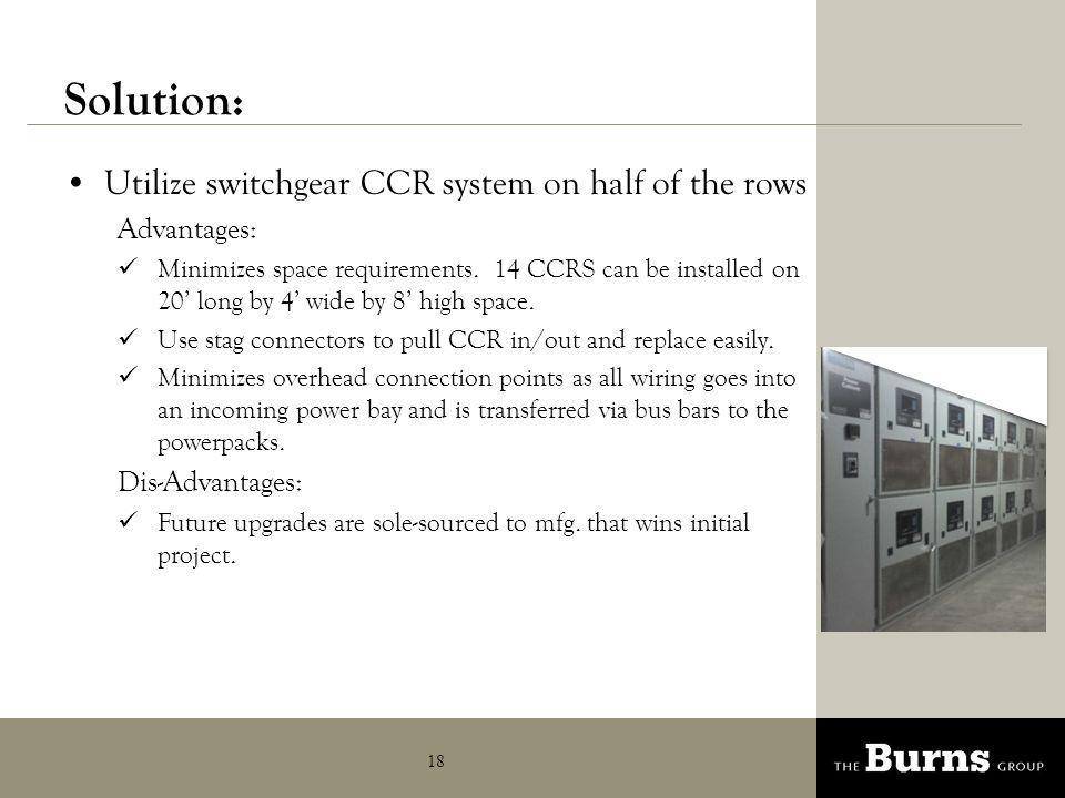Solution: Agenda Utilize switchgear CCR system on half of the rows