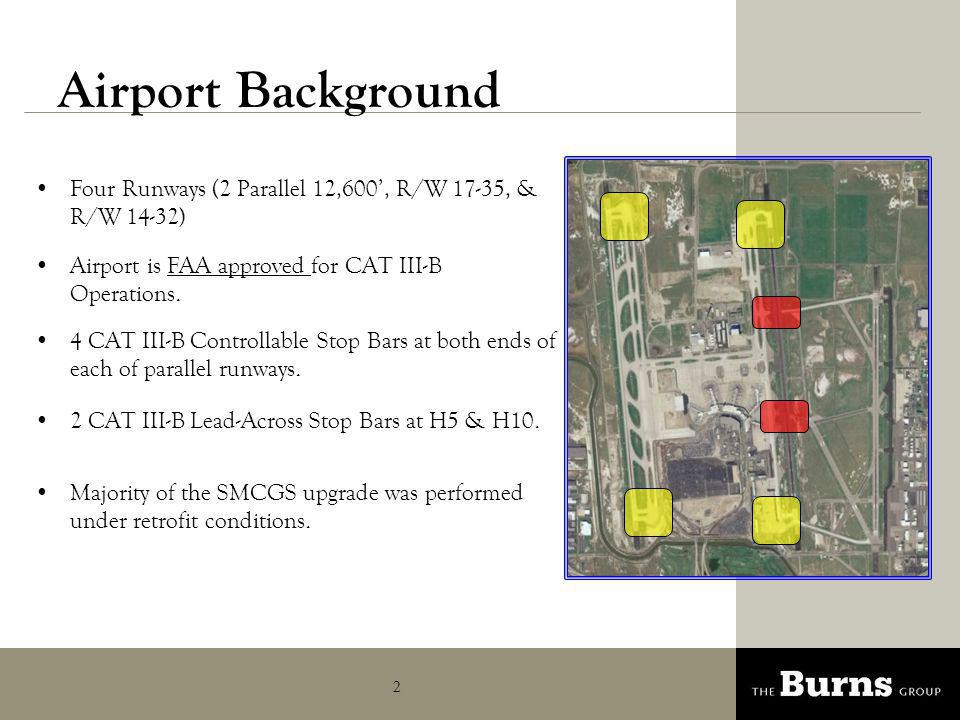 Airport Background Four Runways (2 Parallel 12,600', R/W 17-35, & R/W 14-32) Airport is FAA approved for CAT III-B Operations.