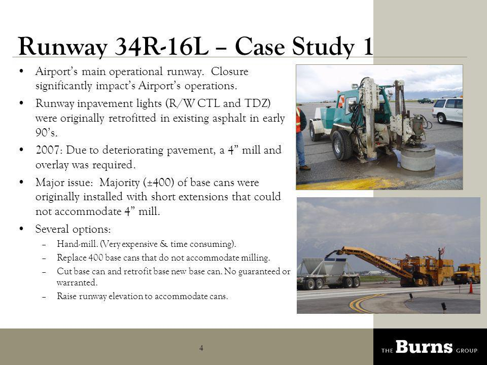 Runway 34R-16L – Case Study 1 Airport's main operational runway. Closure significantly impact's Airport's operations.