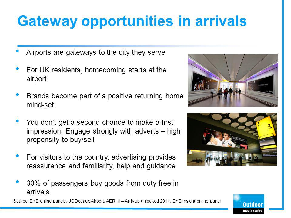 Gateway opportunities in arrivals