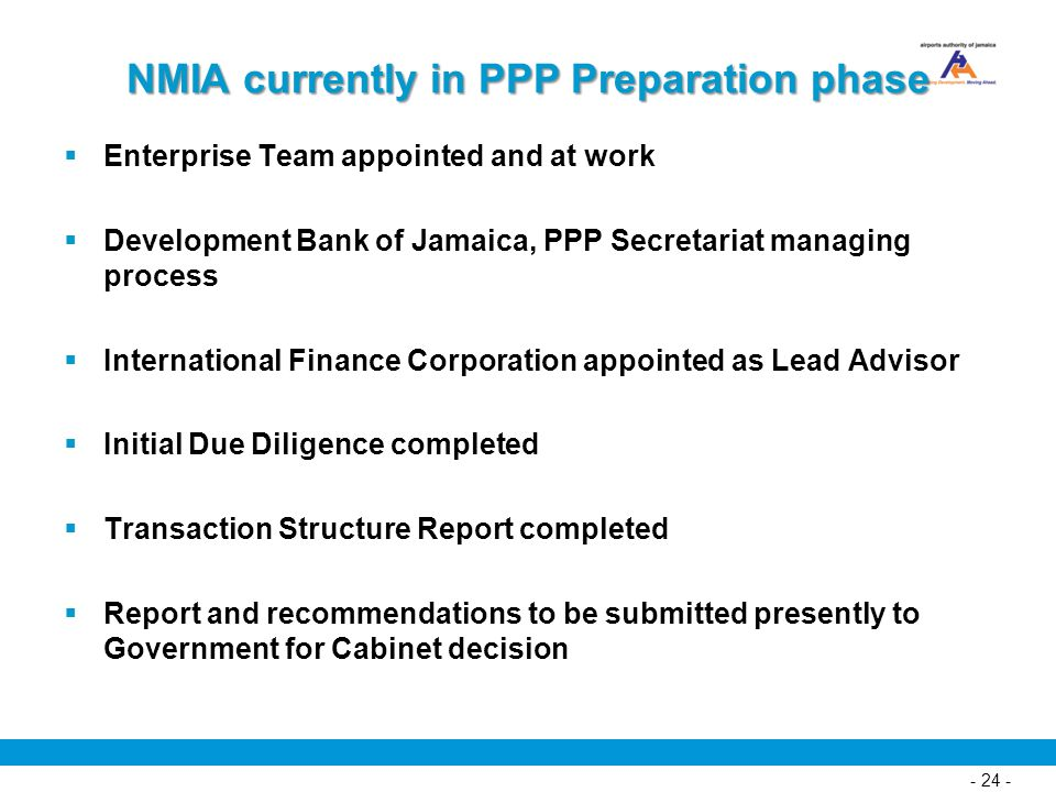 NMIA currently in PPP Preparation phase