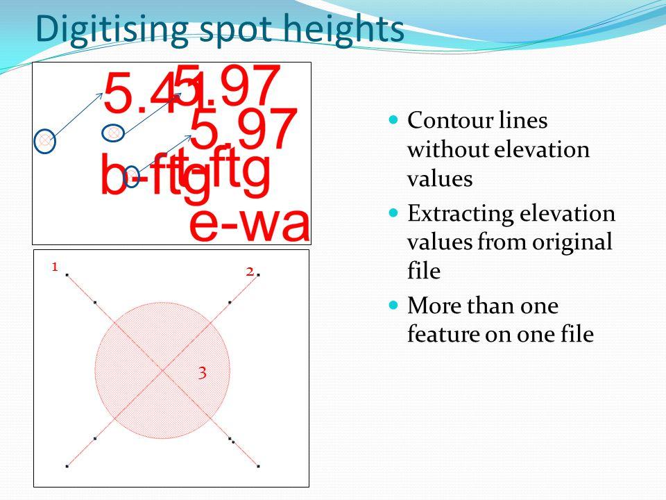 Digitising spot heights