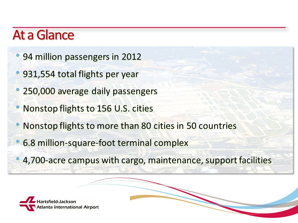 At a Glance 94 million passengers in 2012