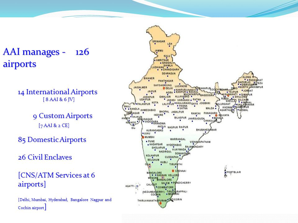 AAI manages - 126 airports 14 International Airports 9 Custom Airports