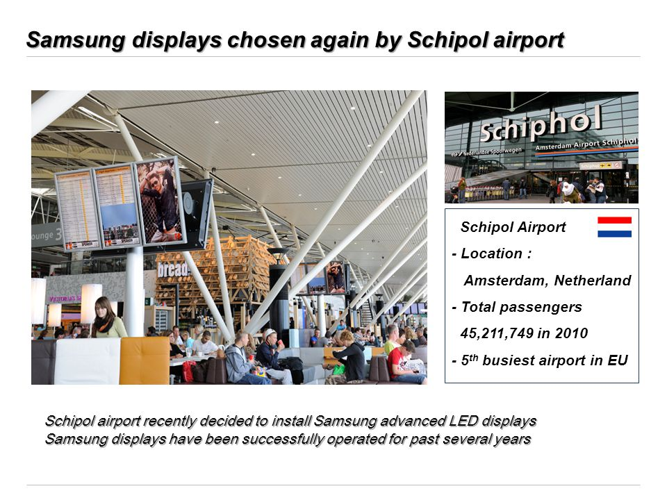 Samsung displays chosen again by Schipol airport