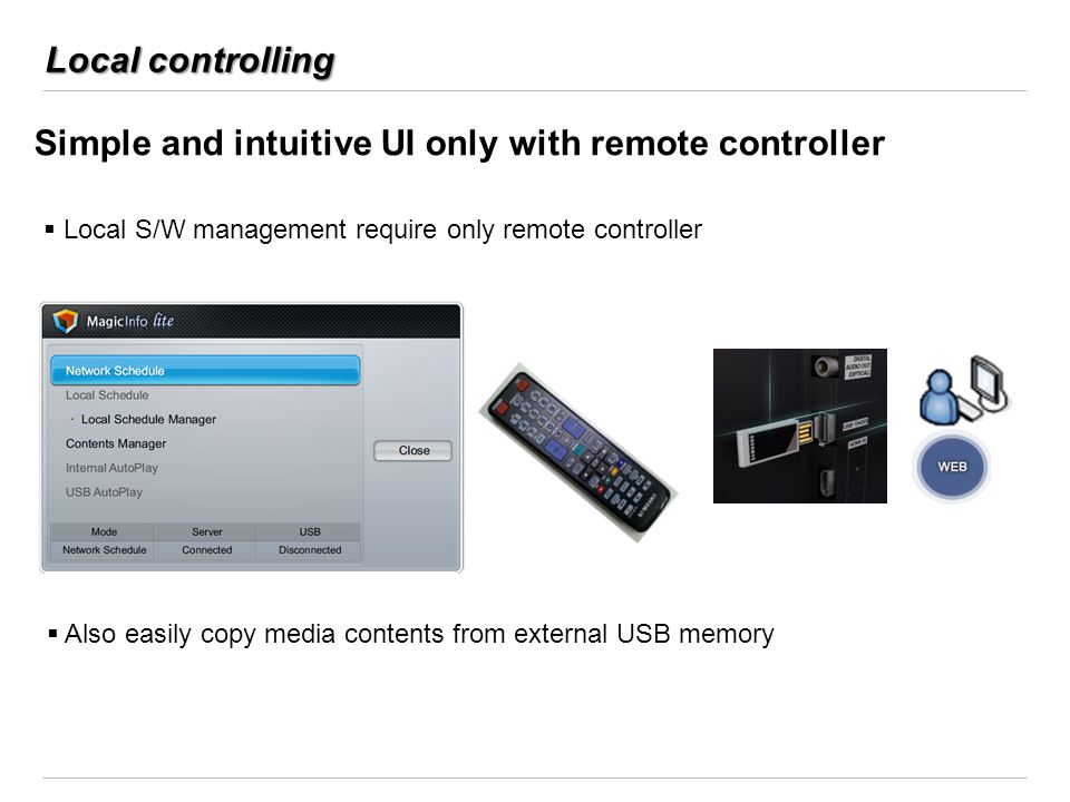 Simple and intuitive UI only with remote controller