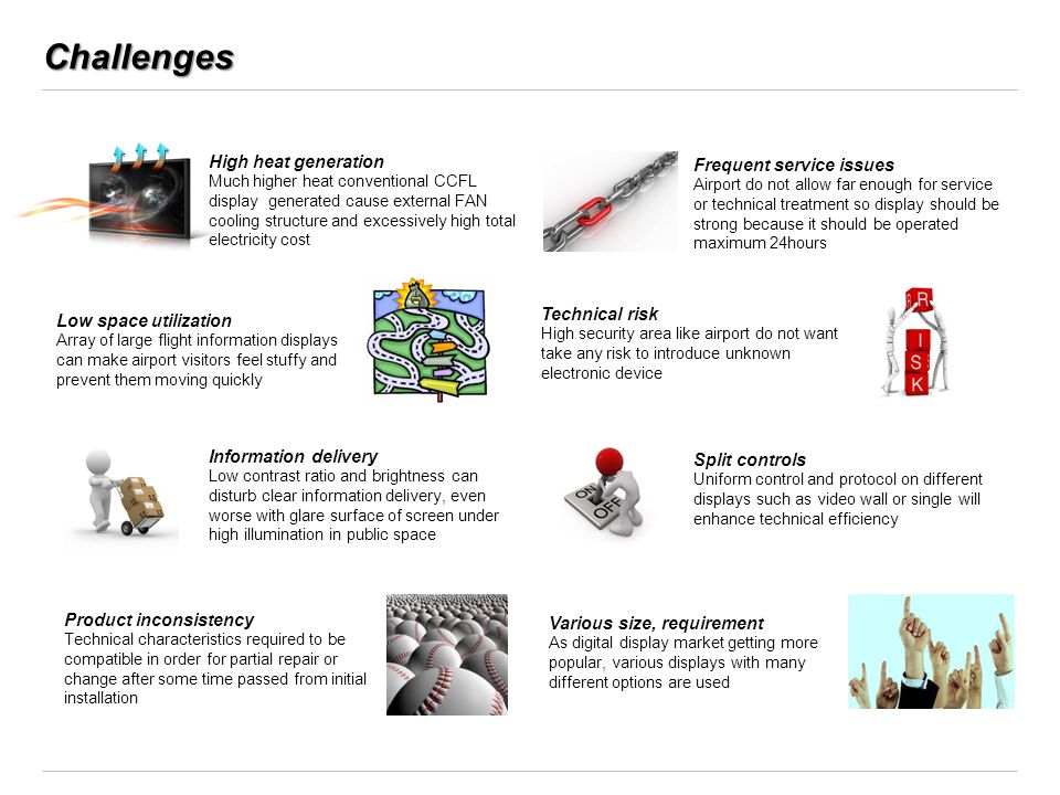 Challenges High heat generation Frequent service issues Technical risk