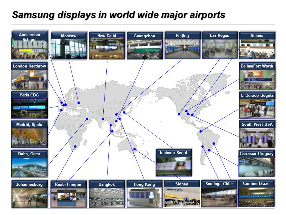 Samsung displays in world wide major airports