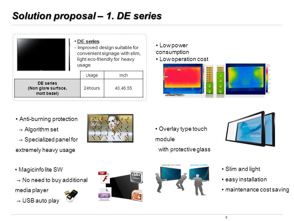 Solution proposal – 1. DE series