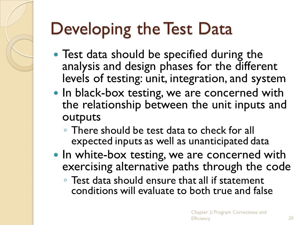 Developing the Test Data
