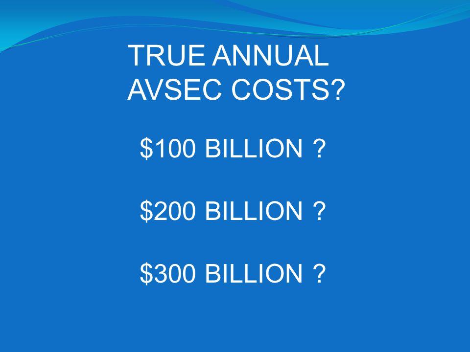 TRUE ANNUAL AVSEC COSTS $100 BILLION $200 BILLION $300 BILLION
