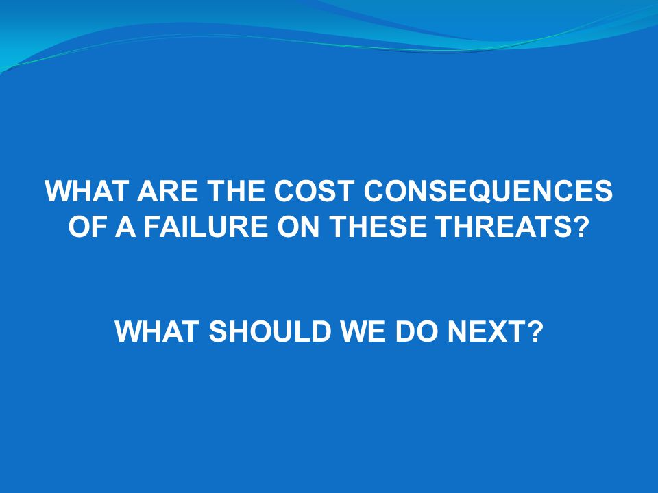 WHAT ARE THE COST CONSEQUENCES OF A FAILURE ON THESE THREATS